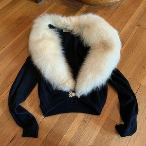 UNWORN 1950s cashmere and fur sweater